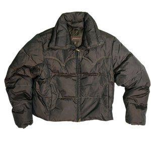 VTG GUESS BROWN PUFFER WOMENS JACKET COAT SZ XL